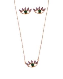 Conjunto colar e brinco zirconias lilás e verde olho mistico