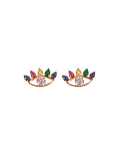 Conjunto colar e brinco zirconias cristal e coloridas olho mistico