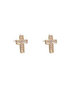 Brinco dourado cravejado cruz