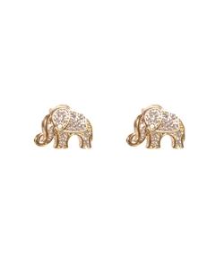 Brinco dourado cravejado elefante