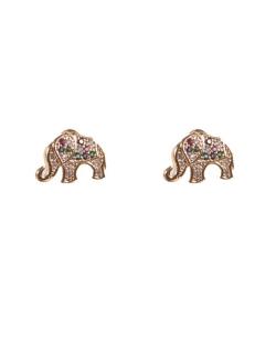 Brinco dourado cravejado colorido elefante