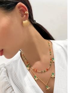 Colar MB Semi joia dourado cristais coloridos
