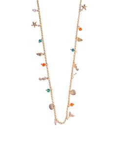 Colar MB Semi joia dourado cristais coloridos Mix Mar