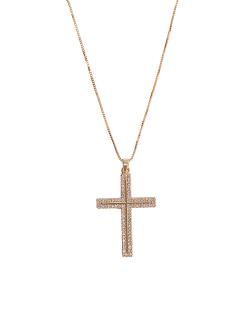 Colar MB Semi joia dourado corrente pingente Cruz cravejada