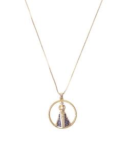 Colar MB Semi joia dourado corrente pingente cravejado Nossa Senhora