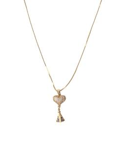 Colar MB Semi joia dourado corrente pingente coração Nossa Senhora