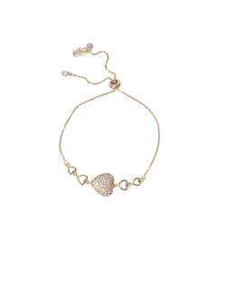 Pulseira MB Semi joia dourada coração Cravejado