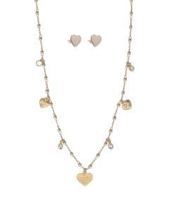 Conjunto MB Semi joia dourado miçangas Corações