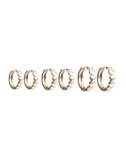 Kit 3 pares de brincos MB Semi joia argolas dourada Coração