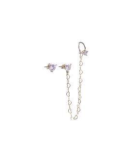 Brinco MB Semi joia dourado com piercing corrente Zircônia Coração