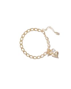 Pulseira MB Semi joia dourada corrente Zircônia Coração
