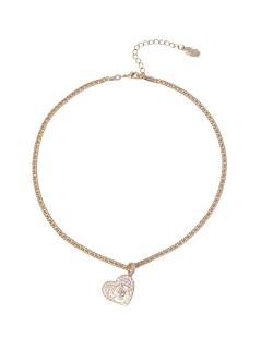 Choker MB Semi joia dourada corrente pingente cravejado rosa Coração