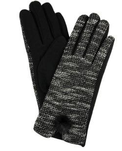Luva de malha preta com tweed